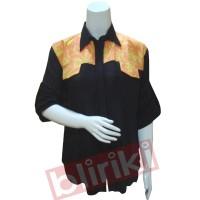 KP08 Kemeja Hitam Batik Kombinasi Cap Tulis Modern Murah Desain Unik