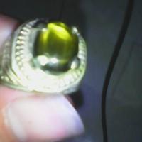 batu cincin permata mulia cat eye natural kristal hijau berserat