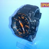 Jam Tangan Pria Sport Militer Dual Time Chronograph Jelly Silicone JP085 ORANGE