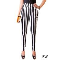 (EXTRA SIZE) Aladin Legging/ Pants/ Celana Stretch STRIPE BLACK WHITE