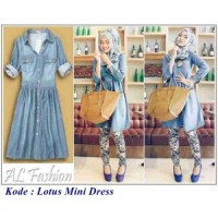 grosir ecer pakaian online murah tanah abang / Lotus Mini Dress Jeans