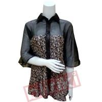 KP07 Kemeja Batik Wanita Modern Ukuran L Murah Warna Hitam Desain Unik