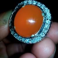 Batu Akik Pacitan Jenis Kalsedon Red Orange Size Kantoran Super Cling