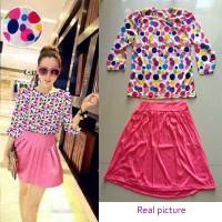 D00156 setelan blouse + Rok import gaya korea koleksi ichika shop