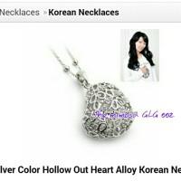 kalung bentuk hati 3D silver diamond