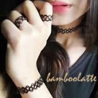 SET stretch choker necklace+bracelet+ring