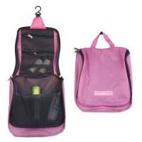 Travel Check Simple Toiletries Bag Organizer Pink