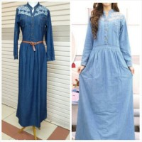 gamis jeans bordir fit XL free belt