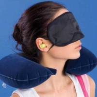 Jual Inflatable Travel Pillow Set Bantal Leher Penutup Mata Telinga Pesawat Murah