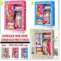 CLOTH RACK WITH DUSK COVER RAK BAJU MULTI FUNGSI LEMARI KAIN RESLETING