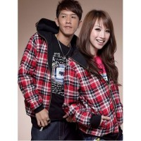 Jaket Couple Red Black Two Side