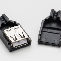 Soket USB Female Connector Shell Plug-4P socket konektor kosong casing