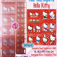 1 set Hanging Bag Shoes Organizer Rak Tas Sepatu Gantung Hello Kitty