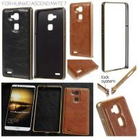 Jual Metal Lock Bumper Leather Cover Case Huawei Ascend Mate7 / Mate 7