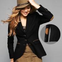 Blazer Wanita Elbow Patches Black Colour