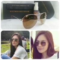Kacamata Victoria Beckam ( Wulan Guritno Coklat Gold Polarised )
