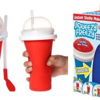 Squeezy Freezy Slushy Ice Maker- Es Botol Sedotan Sendok Freeze Kulkas