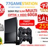 PS2 - Sony Playstation 2 SLIM OPTIK + HARDISK 60GB + PAKET LENGKAP