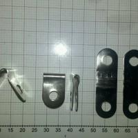 plat besi bisa lurus, siku siku atau tekuk, 2 lubang 5mm