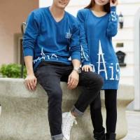 Dress Couple / Terusan Pasangan / Baju Kembar  DRESS PARIS BLUE