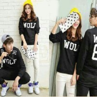Baju Couple Lengan Panjang / Kaos pasangan Wolf 88 Hitam 9506