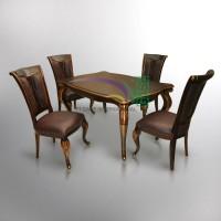 Meja makan silang set_set dinning table gold antique_jepara dinning se