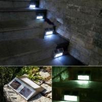 Lampu Dinding / lampu tangga solar power tenaga surya 2 Led stainless