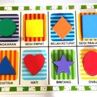 Mainan Edukatif - mainan balok kayu - Puzzle Chunky 8 Bentuk