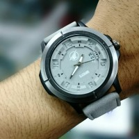 JAM TANGAN BLACK HAWK DATE SET 2 TALI+RUBBER GREY