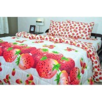 BED COVER CANTIK *STRAWBERRY* Size 180x200