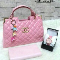 3in1 chanel box pink (tas+dompet+jam)