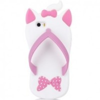 Cartoon Slipper Case for Samsung Galaxy S4 - White/Pink