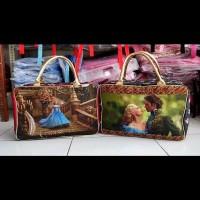 Travel Bag Kanvas Karakter Cinderella Coklat ( Free Ongkir )