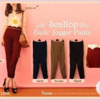 YN-1046 Scallop Basic Jogger Pants