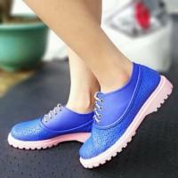 Sepatu Casual Wanita Biru Blue Tali Docmart Kets Shoes Kulit Laser