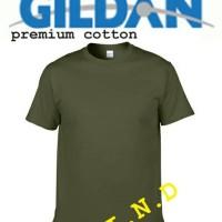 Kaos Polos Gildan Military Green Premium Cotton