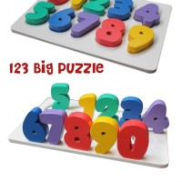 Mainan Edukatif / Edukasi Anak- Puzzle Balok Kayu - Chunky Angka Huruf