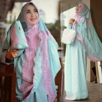 ADELIA MUKENA SOFT BLUE + TAS RENDA ORI BY AV COLLECTION