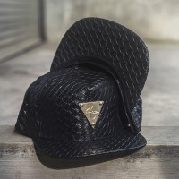 EXCLUSIVE SNAPBACK HATER PATTERN BLACK LEATHER ELEGANT
