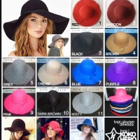 topi Floppy hat pantai lebar polos anak + dewasa vintage warna warni