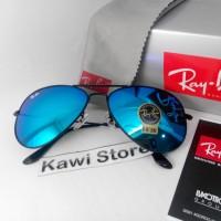 Rayban Aviator BLACK Frame - BLUE Lens