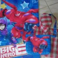 Sarung Set Anak Laki-laki (Sarung + Sajadah + Peci + Tas) Big Hero6 Biru
