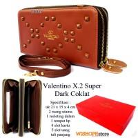 Dompet Kulit Wanita Valentino X - 2 Ziper Super Coklat Tua