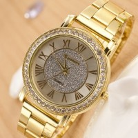 Jam Tangan Gold Diamond Tone Fashion Watch Emas Fesyen Korea Style