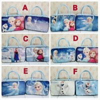 Travel Bag Kanvas Berkarakter Kartun Frozen Blue ( Free Ongkir )