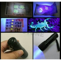 Senter ultraviolet 9 LED, lampu UV, lampu biru.