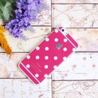 Casing HP Unik Polkadot Case Hot Pink Iphone 4/4S Iphone 5/5S Iphone 6