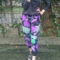 celana aladin floral ungu