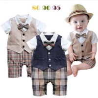 Baju Anak - Vest Plaid Romper (RO-038)