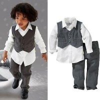 Baju Anak - 3in1 Stripped Vest Set (BO-347)